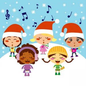 Five kids singing Christmas Carols while snow falls